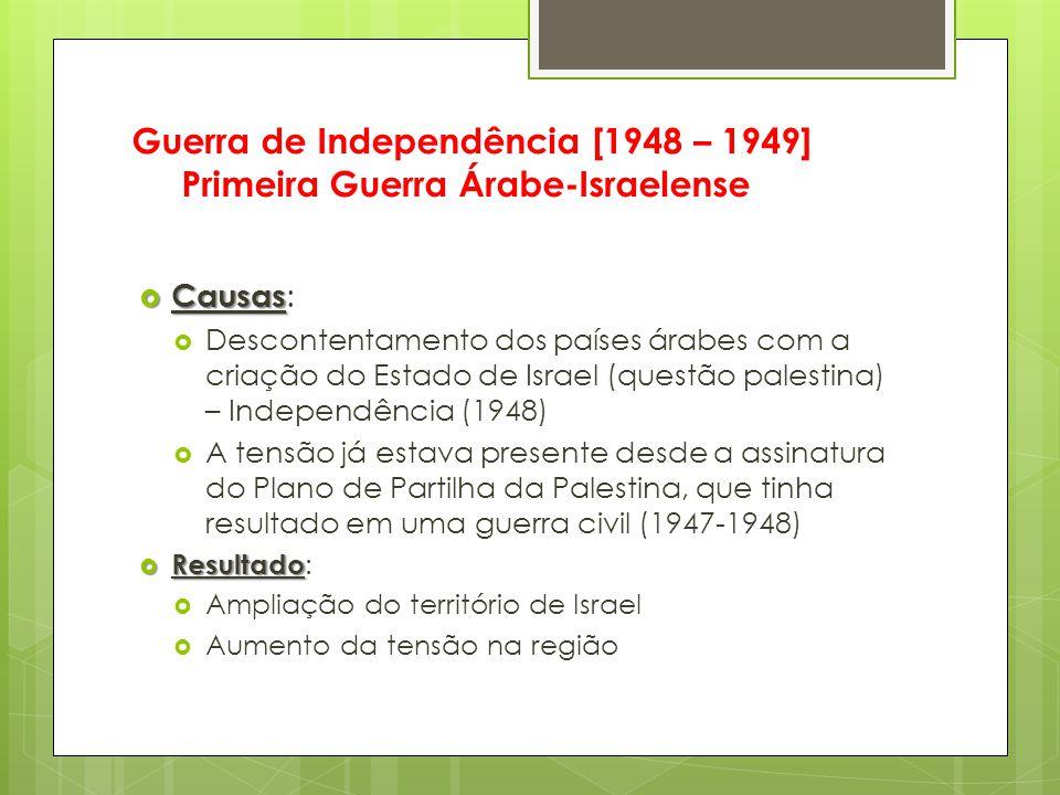 Guerra de Independência [1948 – 1949] Primeira Guerra Árabe-Israelense